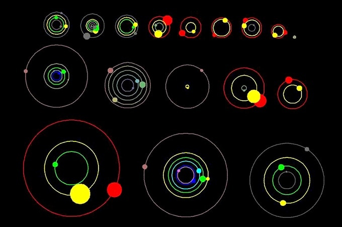 This image shows an overhead view of the orbital positions of planets in systems with multiple transiting planets, discovered by NASA's Kepler mission. Credit: NASA Ames/Dan Fabrycky, UC Santa Cruz