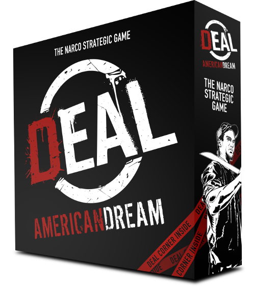 DEAL American Dream is a narco strategic board game for 3 to 6 players. It includes DEAL Corner, a little arms trafficking card game.