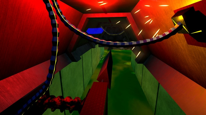 Some platforming action over rotating walkways. Much more unsettling in VR :)