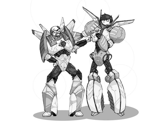 Robo-douches Matthew and Becky
