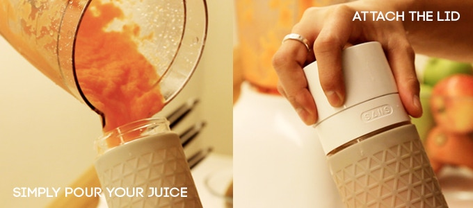 Simply pour your juice, smoothie or beverage of choice (even red wine!) into the glass bottle and attach the lid.