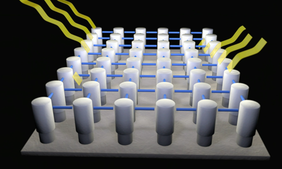 Molecules in a self assembled monolayer during crosslinking process
