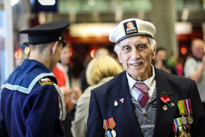 """""""I was on the Normandy landing, on V Day.  I was on the HMSMO, which was a cruiser. There were 6 cruisers along the coast, and it started, and eventually, we were there on D Day, and in July, we were still there, and I was on the six inch gun (...)"""""""