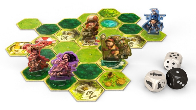 rendered image of the Upper World, hero figures and dice