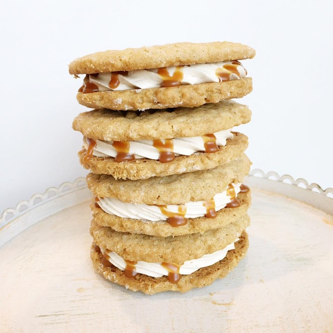 Peanut Butter Cookie Sandwiches with Salted Caramel