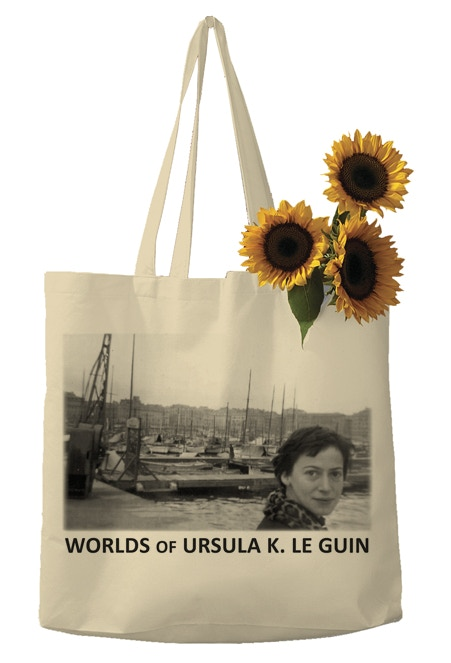 This silkscreened book bag featuring an image of Ursula K. Le Guin is available as part of the $75 ORREC'S PACK and some higher-level rewards.