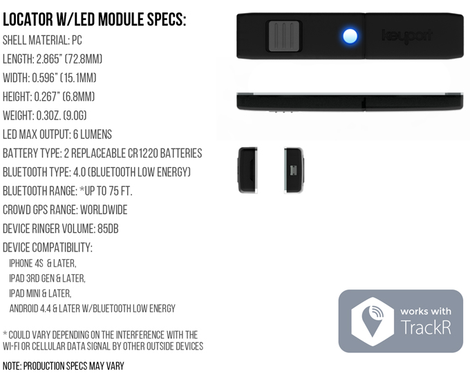 BLE Locator Specs // Works With TrackR