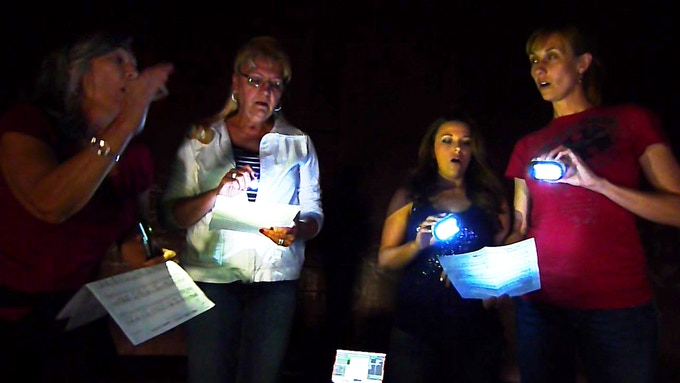 Lois LaFond, Elaine Urie, Angie Kenney, and Heather Zadra harmonize in The TANK.