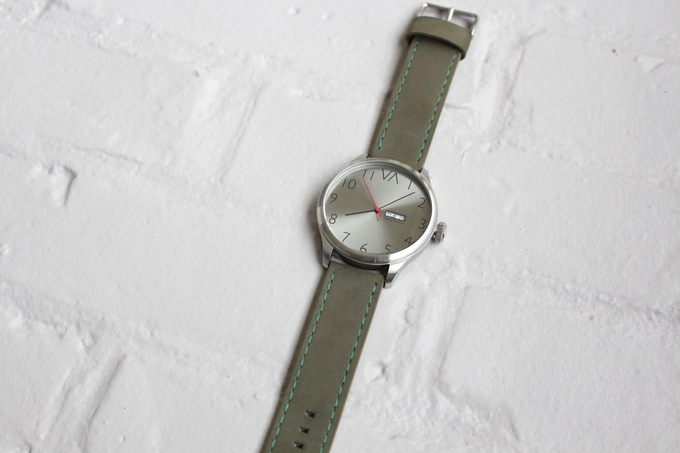 Metal Slate With Olive Green Leather Band