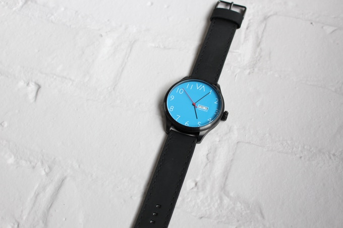 Blue With Black Leather Band