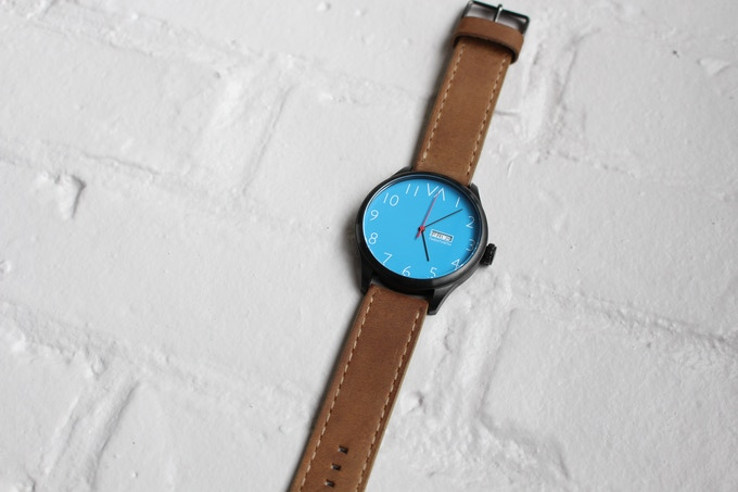 Blue With Brown Sand Leather Band