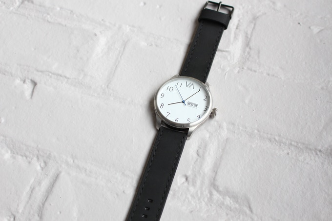 White With Black Leather Band