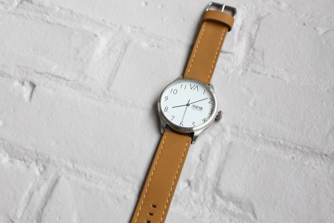 White With Tan Leather Band
