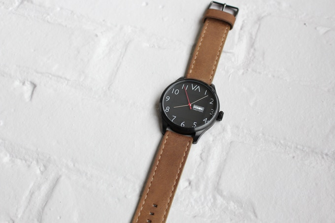 Black With Brown Sand Leather Band