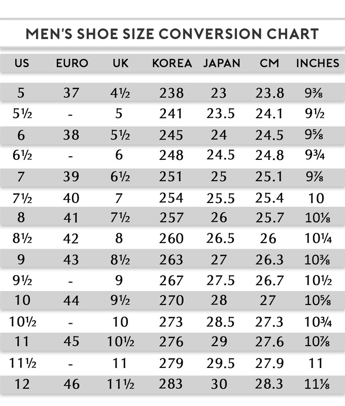 Men S Shoe Size Chart Inches Frodofullring