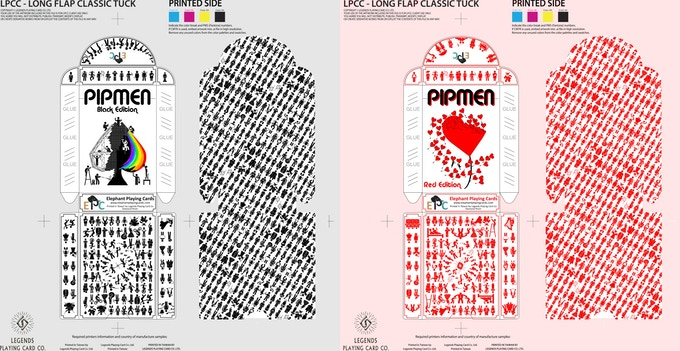 Black and Red tuckbox and interior printing pattern