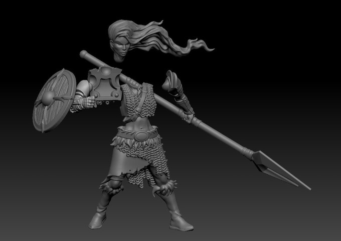 (This is how a Shieldmaiden miniature can be assembled!)