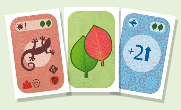 Sample leaf and resource cards (design may vary to accommodate backer's feedback)