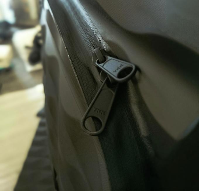 We use waterproof YKK Aquaseal zips
