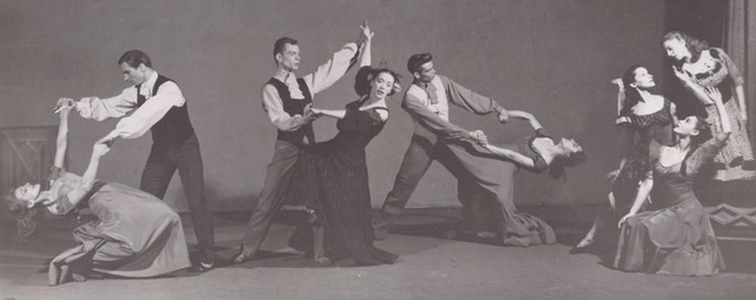 "Erick Hawkins, Merce Cunningham, Martha Graham, Sophie Maslow, Jane Dudley, Nina Fonaroff, Ethel Butler, Pearl Lang, and an unknown dancer in ""Deaths and Entrances."""