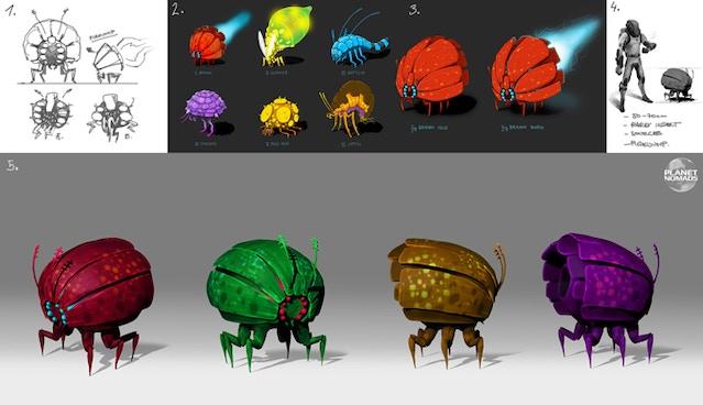 Planet Nomads concept art of rocket bug