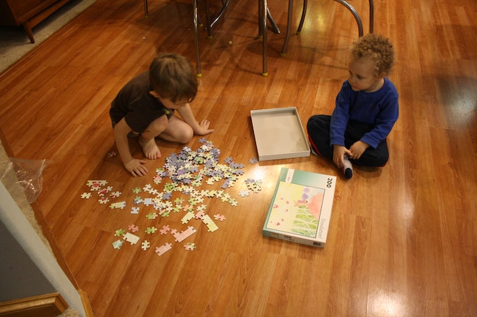 My sons, Puzzle Dash and Puzzle Griffin, trying out a Tessalation puzzle.