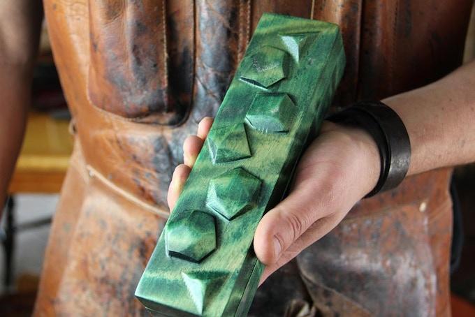 "Flame Birch with Kickstarter Green finish. ""Polys"" wood sculpt."