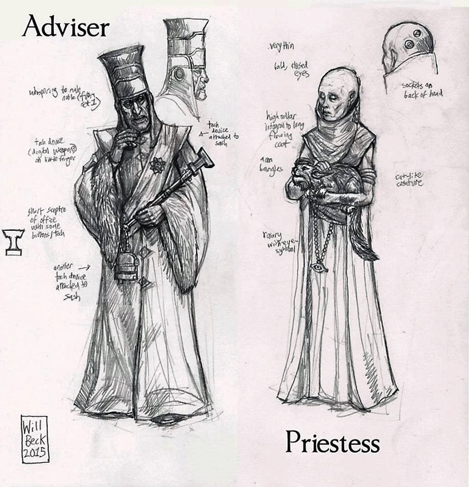 Will Beck's concepts for the Advisor and Priestess