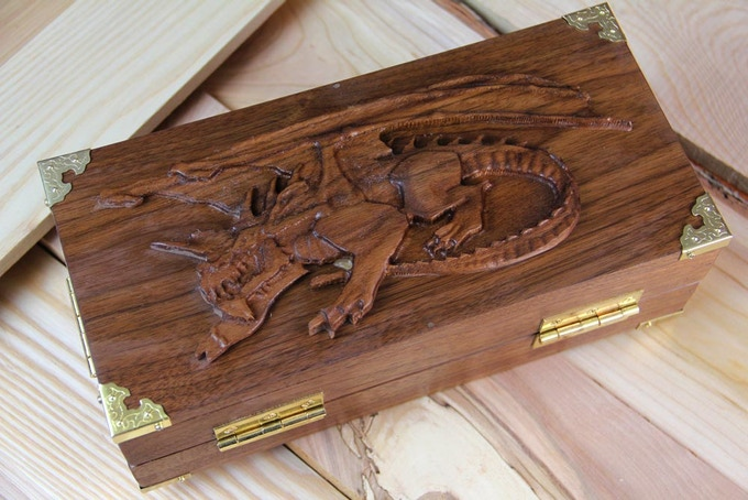 Black Walnut Adventure Case with Crouching Dragon sculpt!