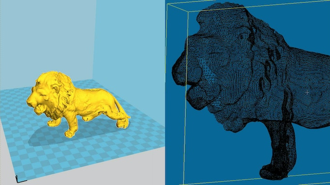 .stl File ready to print in Cura alongside the cross-section of the 3D mesh in CloudCompare