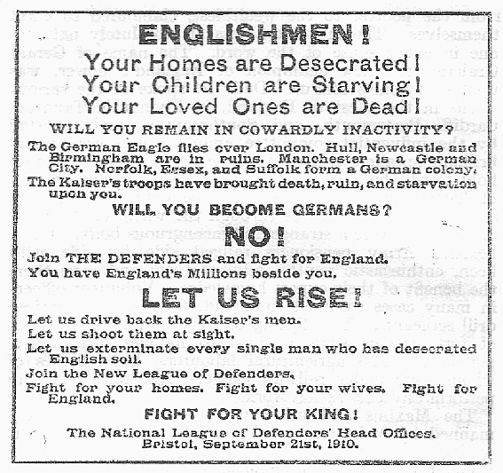 Poster calling for action post a German Invasion of England
