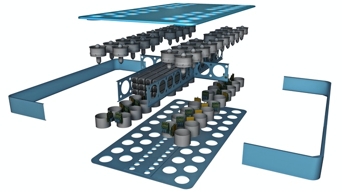 3D rendering of interior components of the ArcaBoard