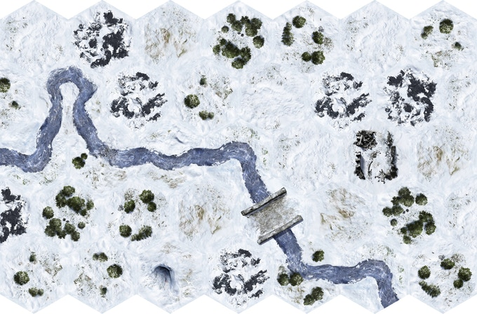 A 4.5' x 3' Tundra layout using 33 of the 50 Tundra themed tiles.