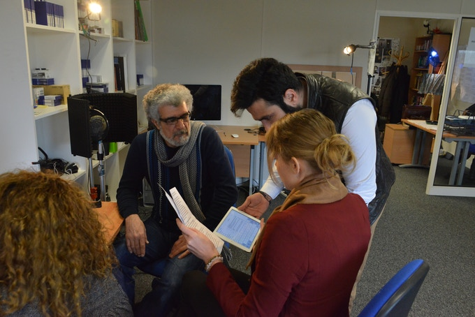 Members of our team, Hamid Khairoldin, T-Ann Manora and Ali Ghorashi, reviewing the script for Joan of Arc.