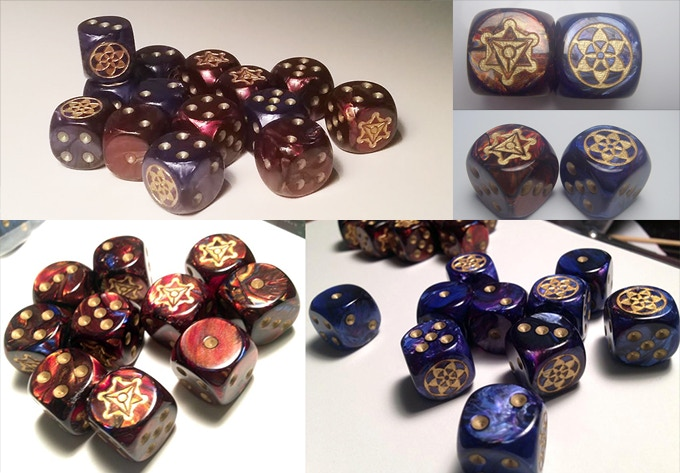 Dice produced by Chessex. Seriously, look at those colors!