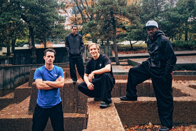These are the four guys in our campaign video, but they only represent a small part of our international pro team who works together to spread Parkour in more than 13 countries around the world.