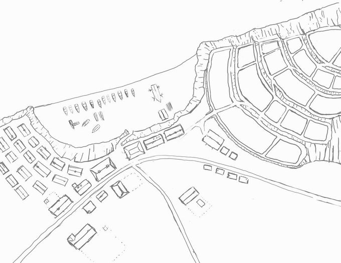 Preliminary sketch of the fishing village, Sumer