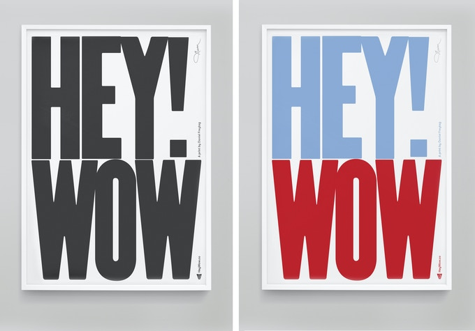 HeyWow! Gyclee prints in mono or red & blue.
