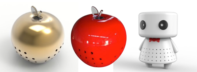 The original Food Protectors come in red and gold (apple) and white (robot)