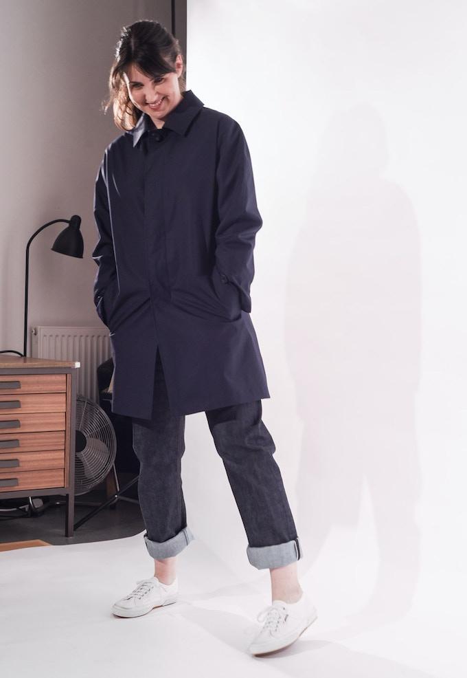 Sarah in Navy Raincoat and Men's Jean