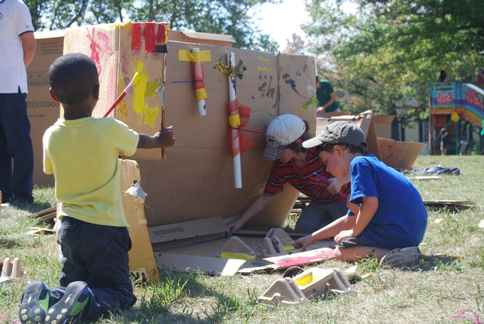 "Children immersed in play at ""play:ground in the park"" at Governors Island"