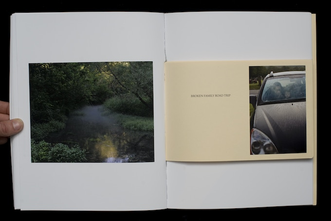Book within the book titled Broken Family Road Trip (handmade book).