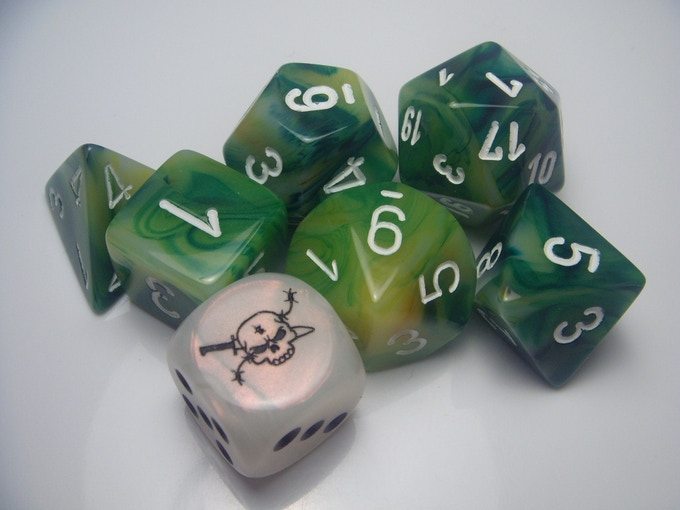 The dice for Weird War I--in the gruesome colors of terrible chlorine gas.