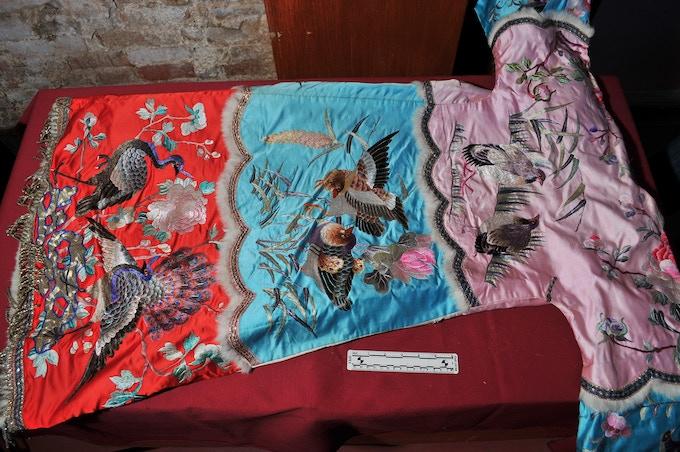 Hand Sewn Women's Robe with Rabbit Fur