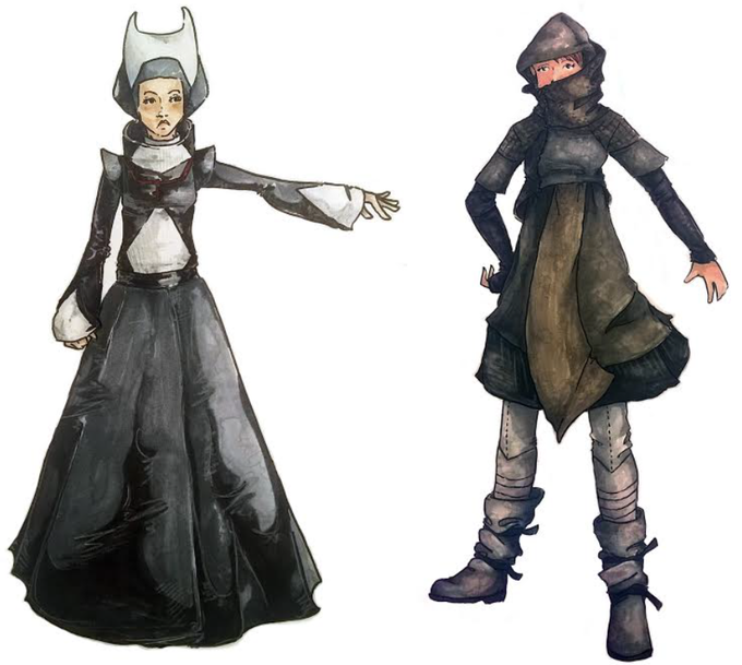 Costume concept art featuring, left, a sister from a futuristic Ursuline Order and, right, Anne Dark.