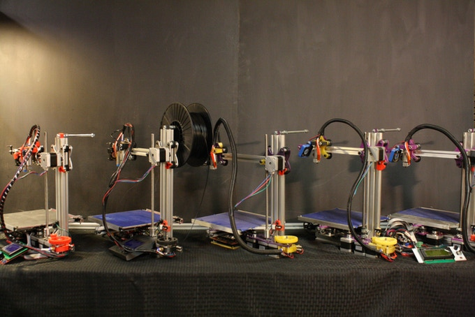 Printer Farm: able to produce 8 printers a day in parts.