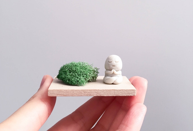 "My ""Inner Peace"" sculpture. Inspired by a drawing my brother drew for me, the statues I've seen in Japanese moss gardens, and the peaceful feeling I have whenever I'm visiting temples in Japan."