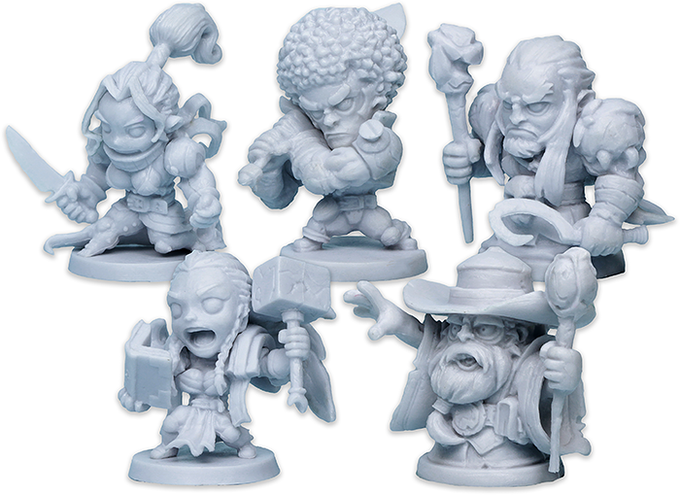 Production plastic figures of the Heroes of Masmorra.