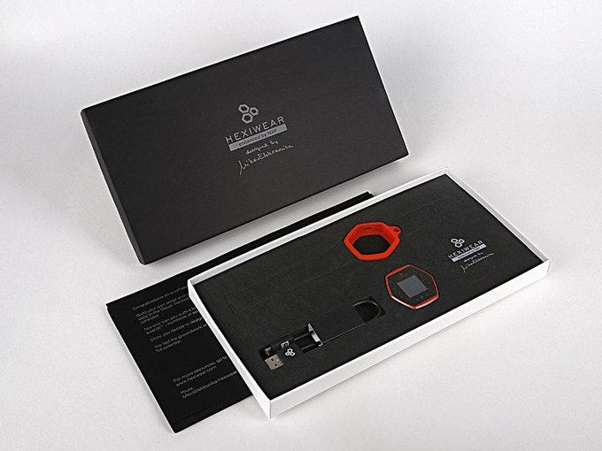 This is what you get (packaging for early bird Hexiwears, one unit, soft cover, and cable)