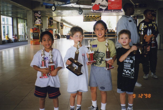 Lisk, Jules, Tezro (Lisk's brother), TheSlimeKing (Jules' brother) after winning a chess tournament.
